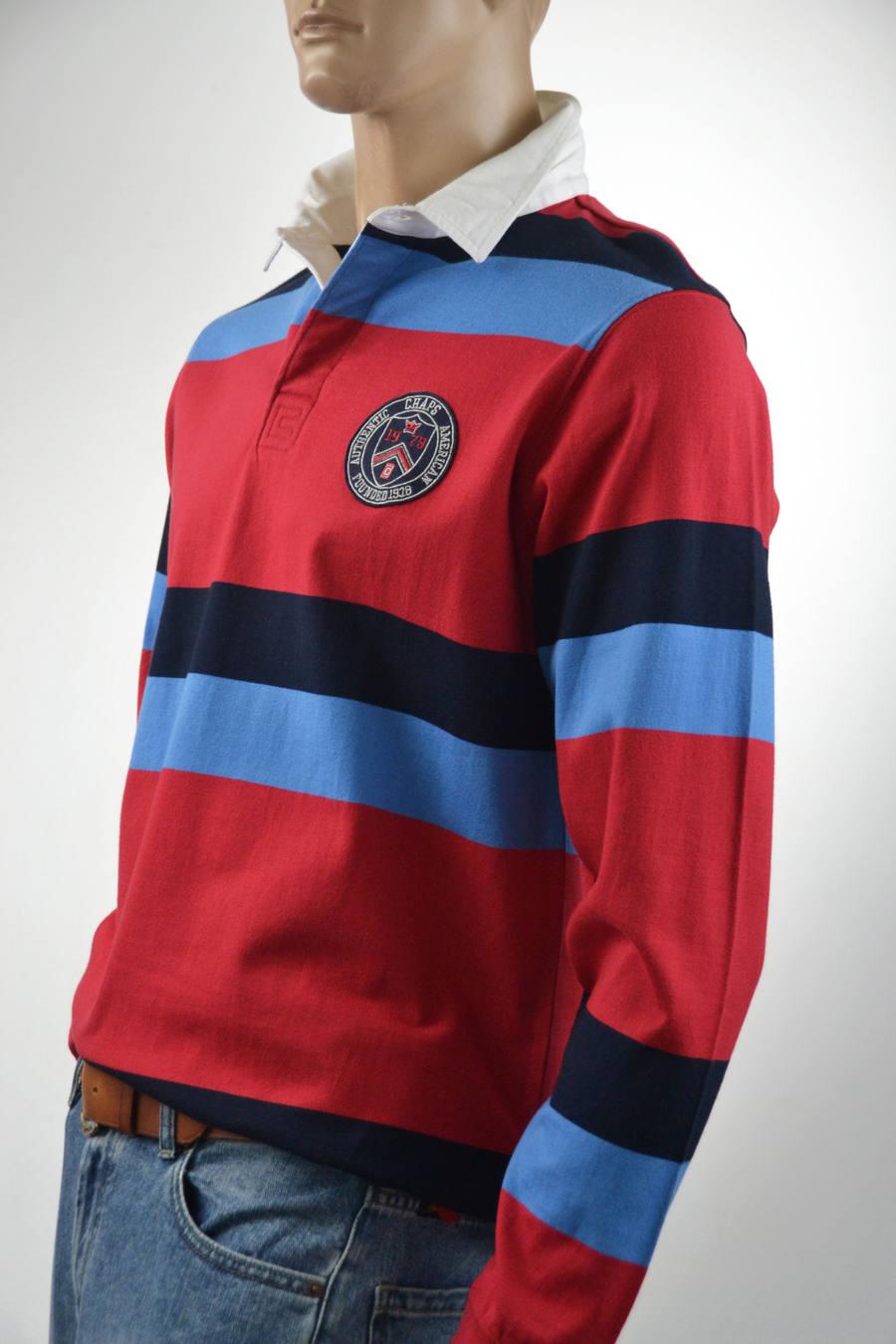 Chaps Mens Rugby Rednavy Blue Striped Long Sleeve Shirt Medium