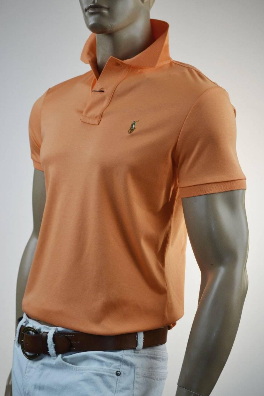 3cce85f1 Ralph Lauren Classic Fit Peach Orange Pima Cotton Short Sleeve Polo Shirt/  Pony - NWT
