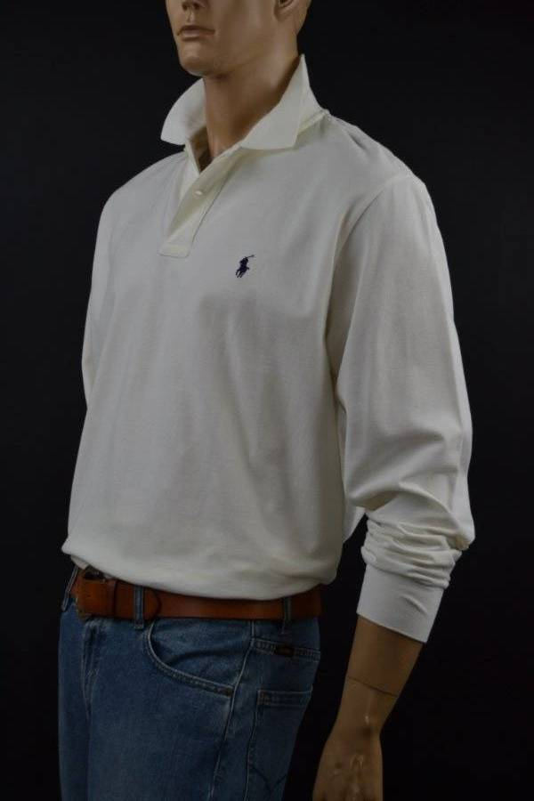 c4873ced Polo Ralph Lauren Cream Off- White Long Sleeve Mesh Polo Shirt/Navy  Pony-NWT-XL