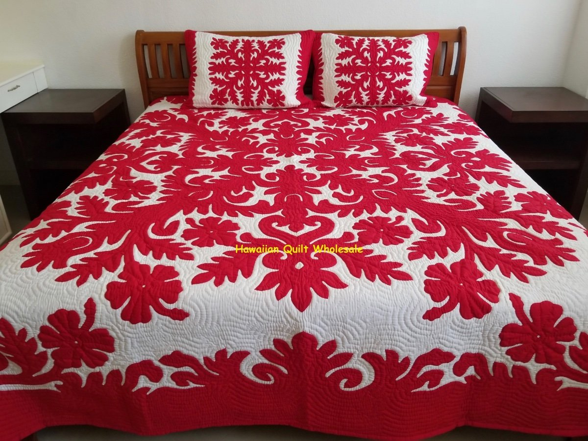 Hawaiian Quilt Bedspread 2 Shams 100 Hand Quilted Hand Appliqued Red Hibiscus Ebay