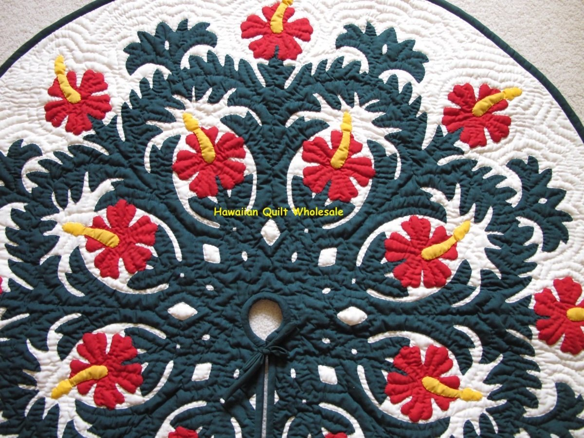 Hawaiian Quilt Christmas Tree Skirt 100 Hand Quilted Appliqued Hibiscus 42 D Ebay