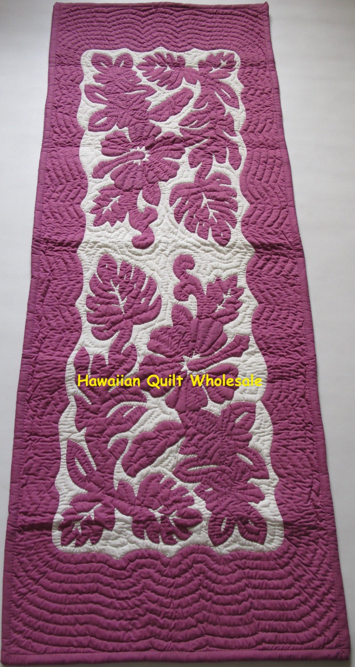 Hawaiian Quilt Hand Quilted Appliqued Handmade Table Bed Runner Hibiscus Ebay