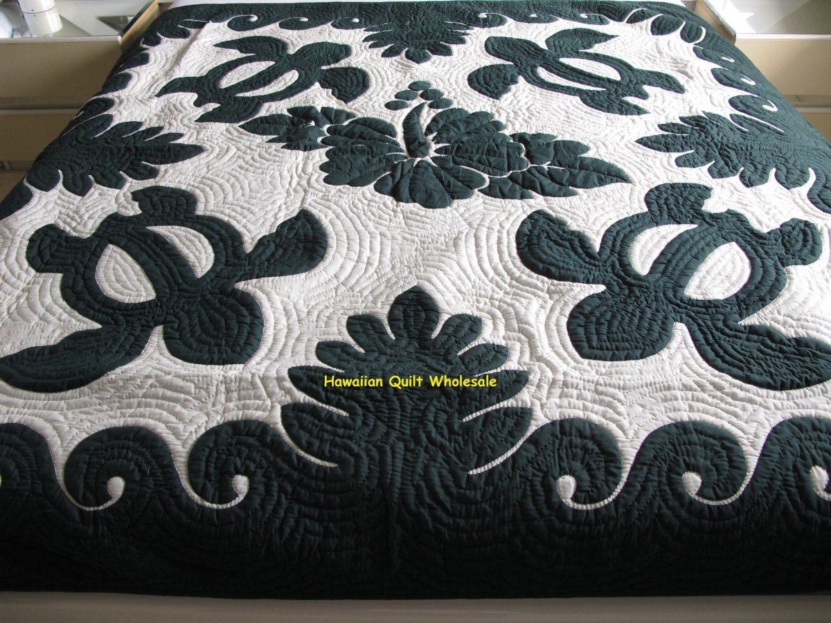 Hawaiian Quilt Full Twin Bedspread 100 Hand Quilted Appliqued Hibiscus Turtles Ebay