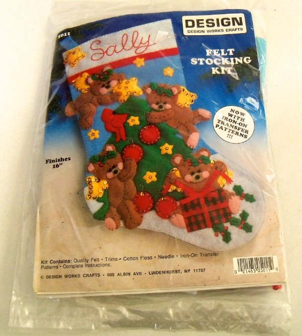 New Sealed Design Works Christmas Elves Stocking Kit 5084 Stitching Fun