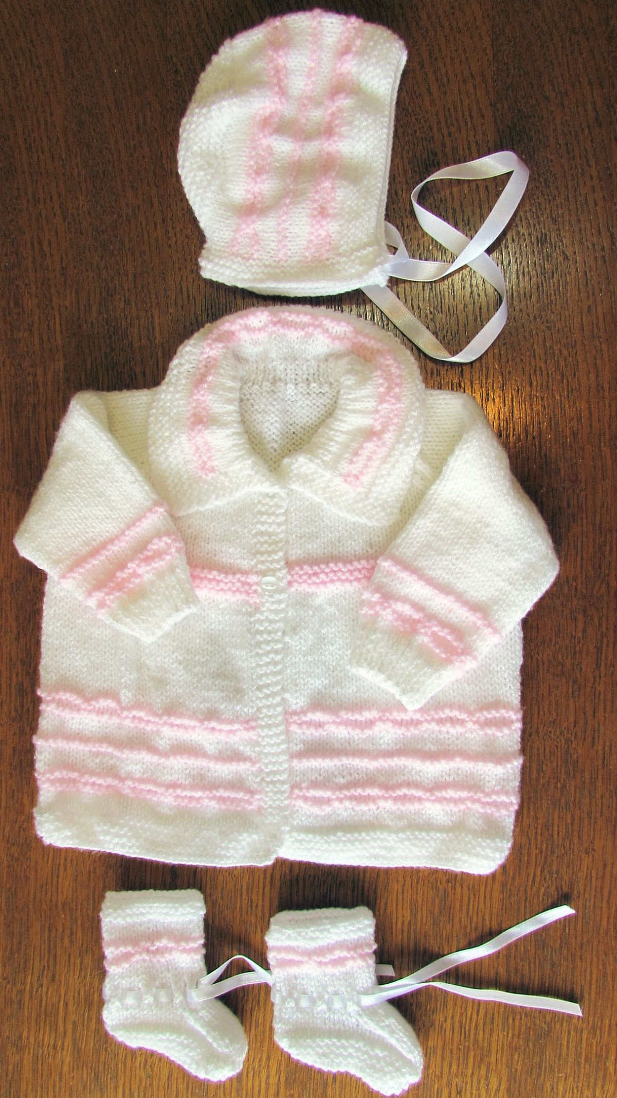 2616a901b48f white and pink matinee set new 0 to 3 months hand knitted coat hat ...