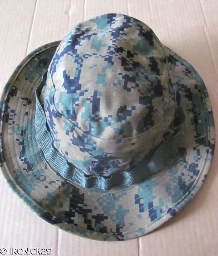 85e2ff6dee408 New USMC Woodland Digital Camo Boonie Hat Cap Green