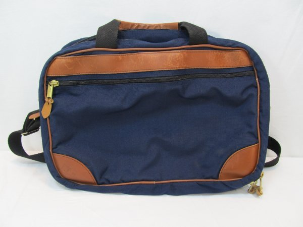 L Bean Computer Messenger Bag 18 X 12 Carry On Blue Canvas Leather Is In Good Used Condition Lots Of Life Left There Are Some Small Blemishes