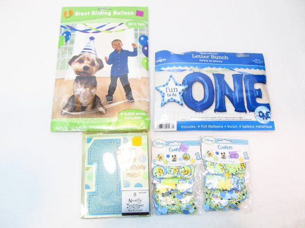 Details about Boys 1st Birthday Party Invitations, Balloons, & Confetti