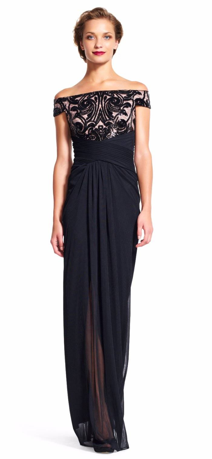 Adrianna Papell Off Shoulder Sequin Bodice Drape Formal Gown Dress ...