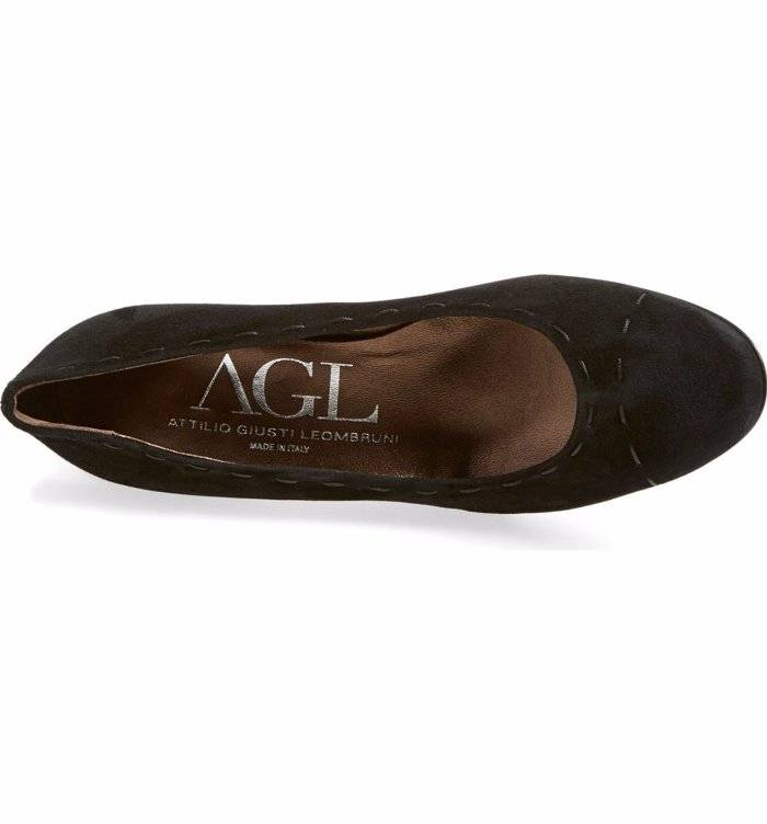 144158296483 AGL Attilio Giusti Leombruni Round Toe Stitching Suede Pumps Shoes 7 ...