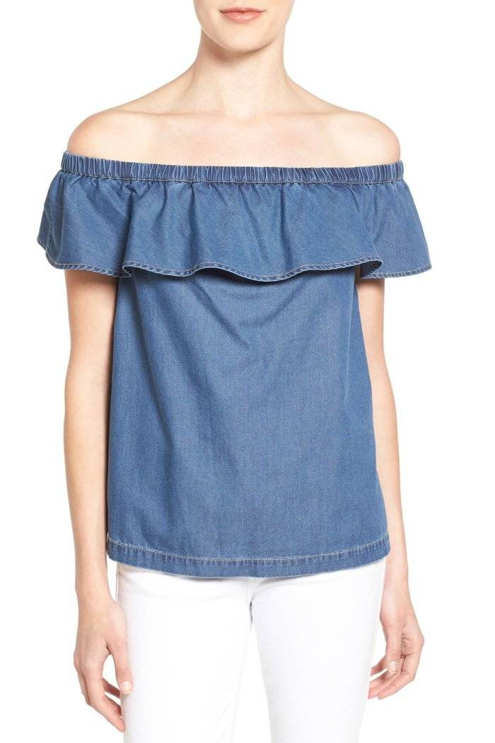f866079a27ddb7 Chelsea28 Nordstrom Off Shoulder Top Shirt Chambray Denim X-Small (0 ...