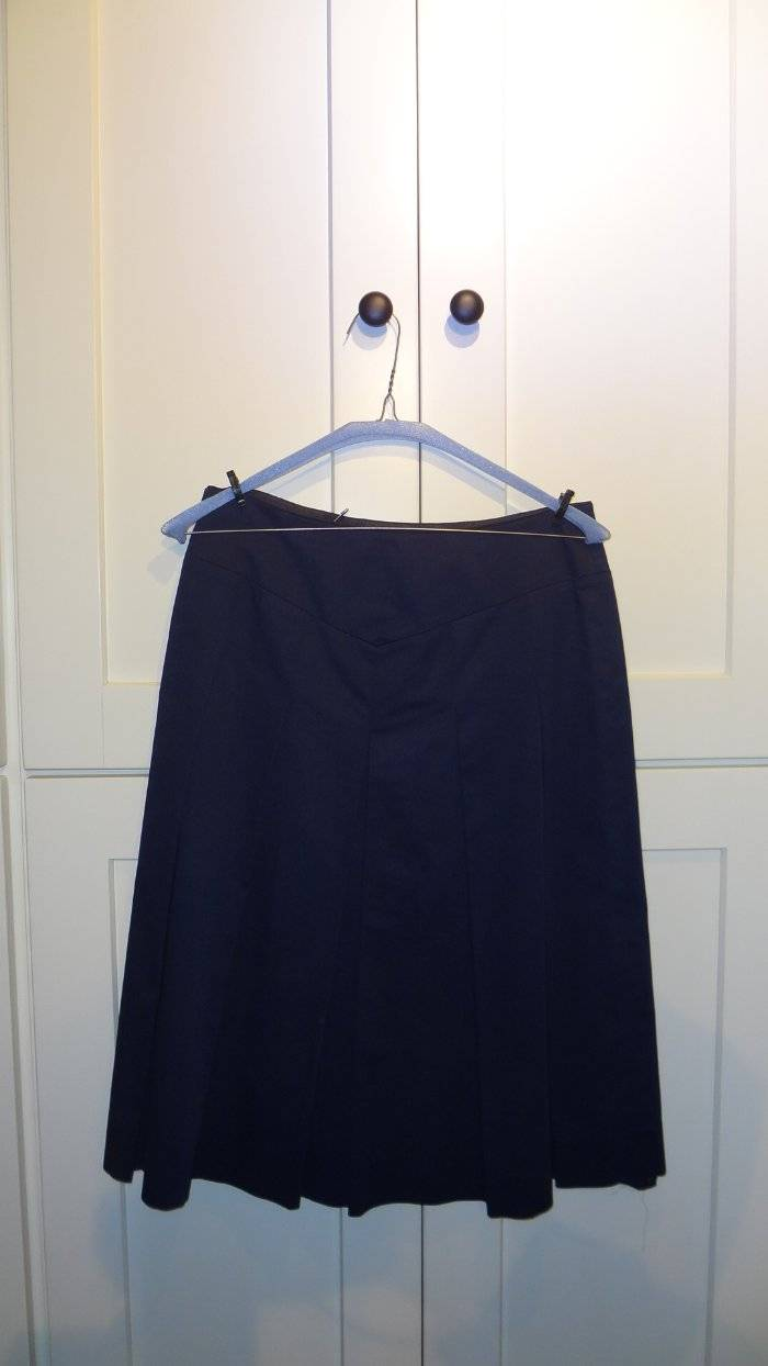 dc2f17f5ca Details about TSE Cashmere Cotton Pleated Skirt Navy Blue Size 2-6