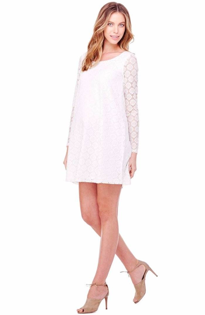 f6365c4663518 Details about Ingrid & Isabel Dot Lace Long Sleeve Swing Maternity Dress  White Small 4-6 $98