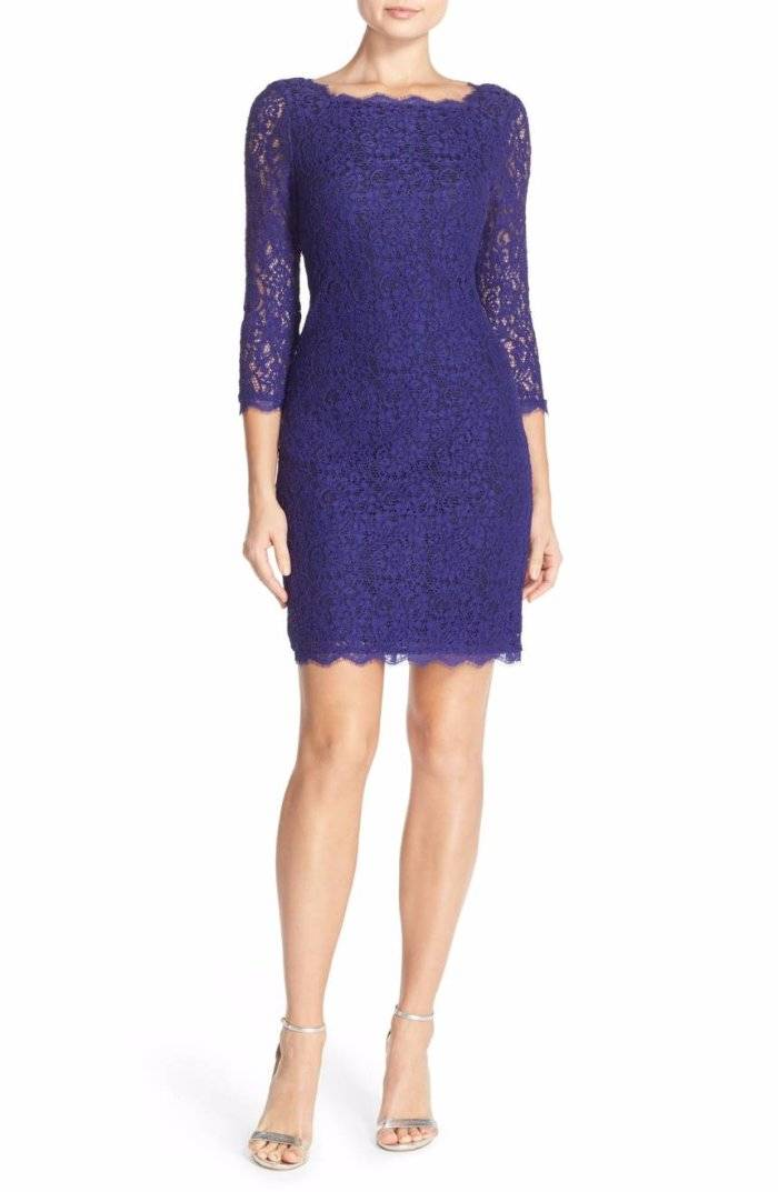 Adrianna Papell Lace Sheath 3/4 Sleeve Dress Neptune (Blue) 4 $158 ...