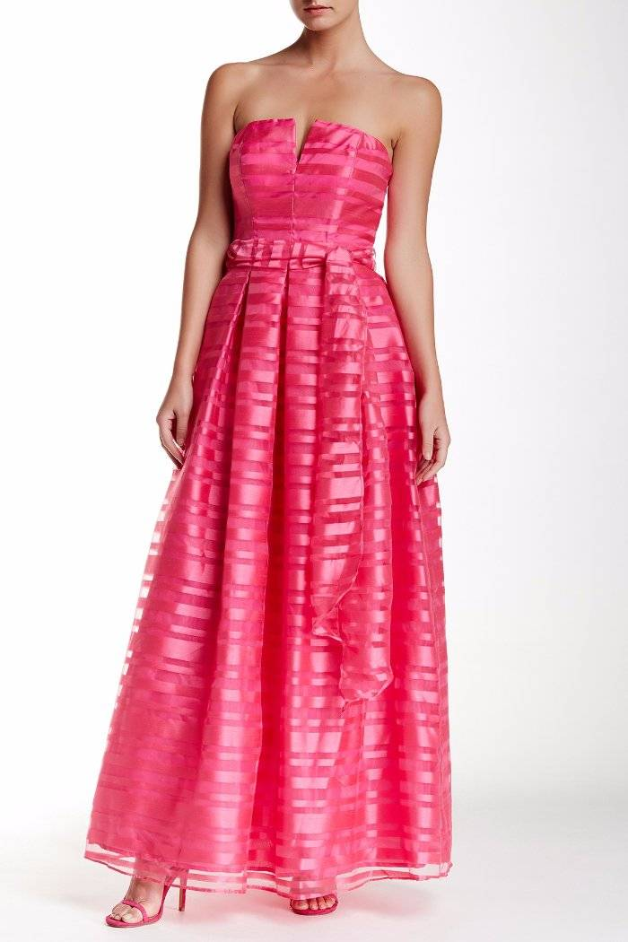 01e5ab2643458 Details about Marina Split Neck Strapless Shadow Stripe Gown Dress Pink 8  $229