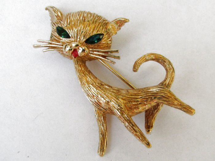 Red Eyes Black Cat Cat Jewelry Red and Aqua Black Cat Pin Vintage Pin Aqua Detail Cat Pin Vintage Brooch Cat Brooch Red Collar