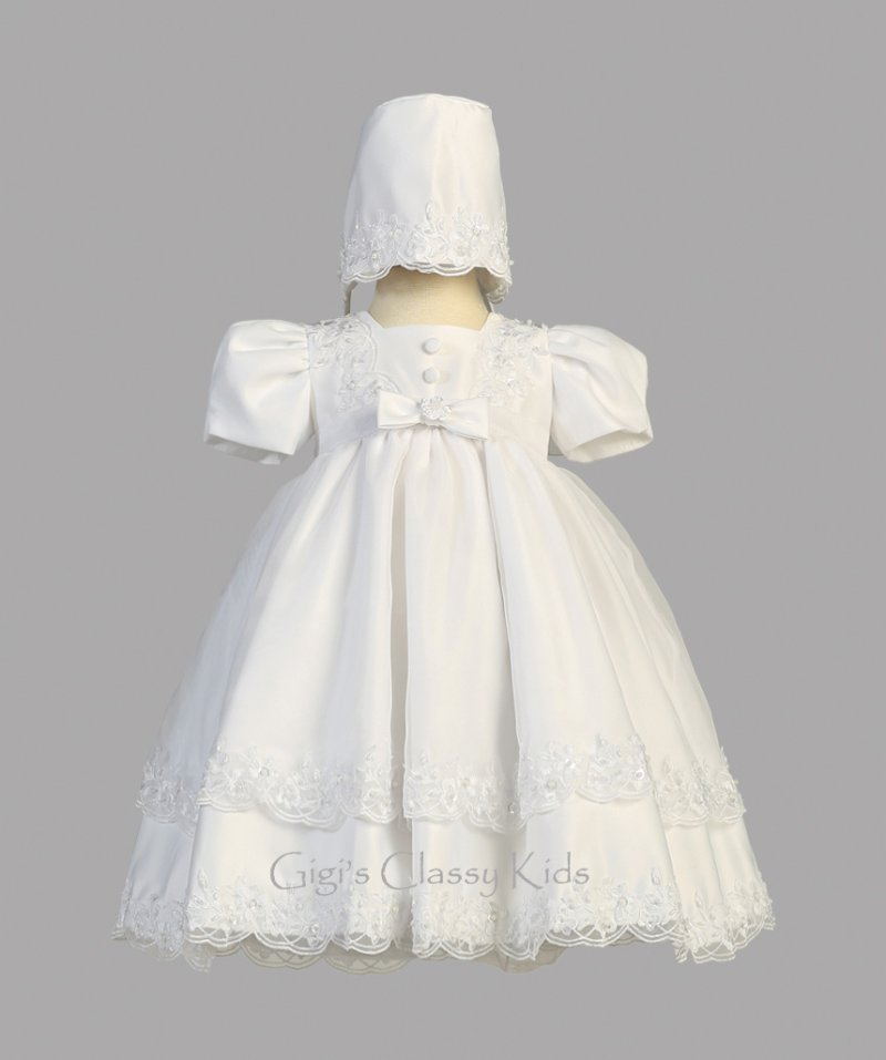 White Flower Baby Girls Satin Organza Christening Baptism Dress Gown Bonnet New Baby & Toddler Clothing Clothing, Shoes & Accessories