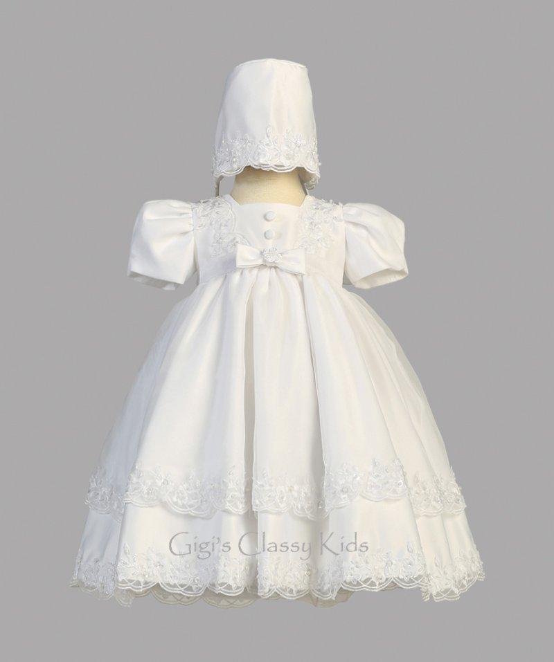 New Baby Girls White Satin Organza Dress Gown Christening Baptism ...