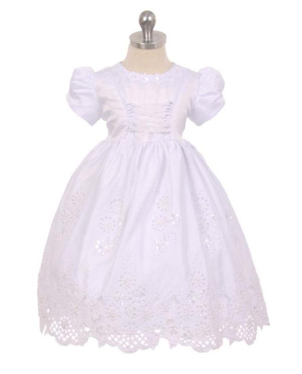 Baby Toddler Girls White Dress Baptism Christening Dedication Cape Bonnet 340