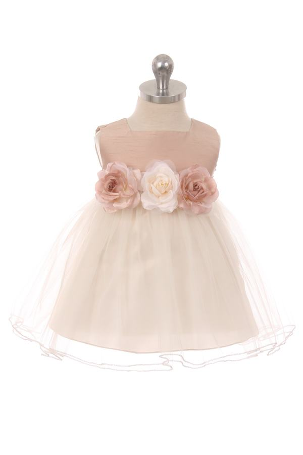 ff0424dc861 Details about New Flower Girls Dusty Rose Satin Tulle Dress Wedding Easter  Baby Kids Party 428