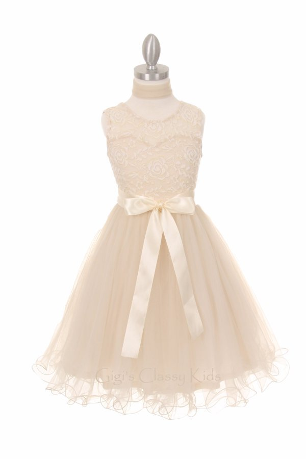 New Flower Girls Embroidered Lace Tulle White Dress Pageant Wedding Easter 5002