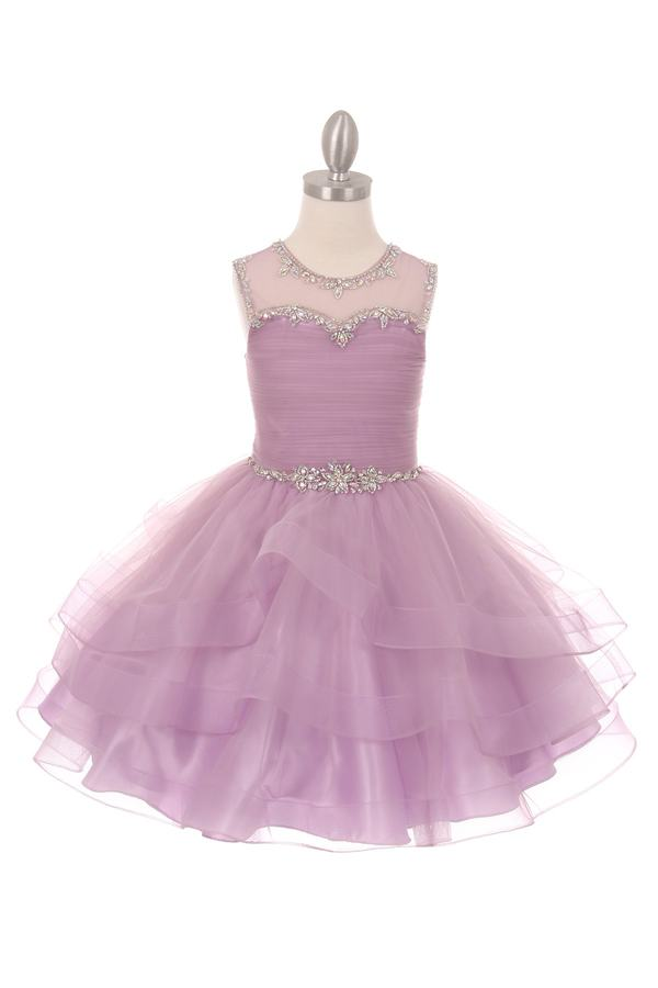 New Flower Girls Lilac Organza Tulle Dress Pageant Wedding Party Fancy 5050