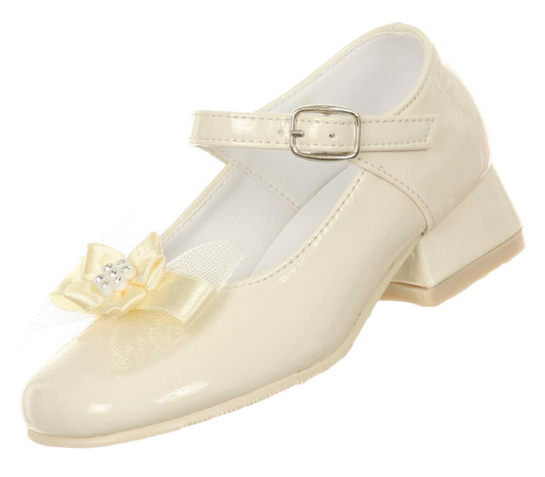 Ivory White Flower Girl Stud Dress Shoes Communion Wedding Party Toddler Kids