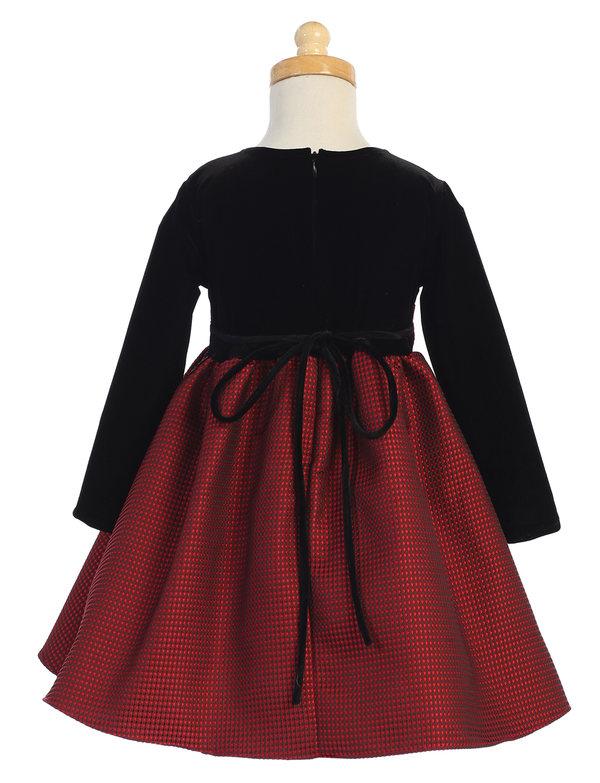 New Flower Girls Black Velvet Red Dress Baby Wedding Easter Christmas Party 525