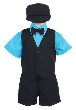 Baby Toddler Kids Boys Black Lilac Shorts Suit 5 PC Set Outfit Wedding Easter