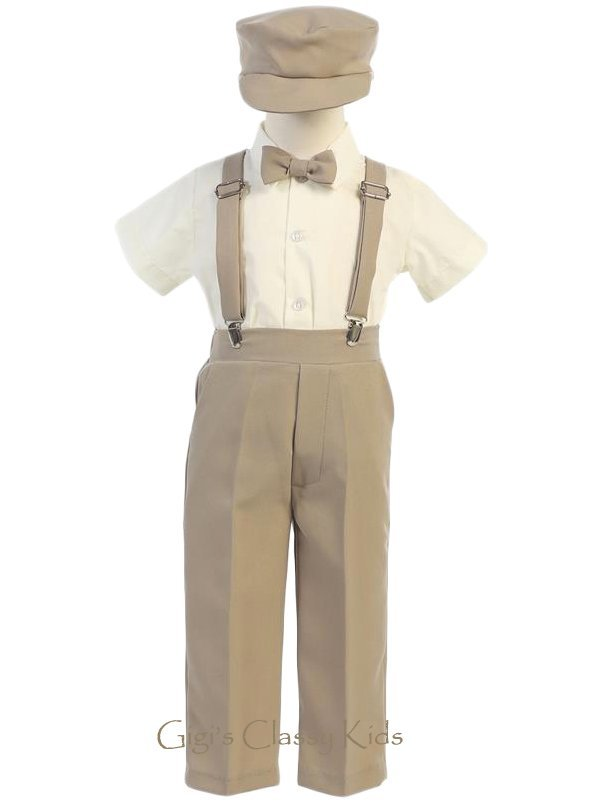 Baby Toddler Kids Boys Khaki Tan Suspender Pants Outfit