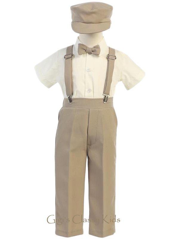 Baby Toddler Kids Boys Khaki Tan Suspender Pants Outfit
