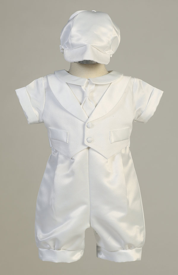 White Baby Boys Shantung Romper 2 Pc Set Outfit Christening Baptism Dedication