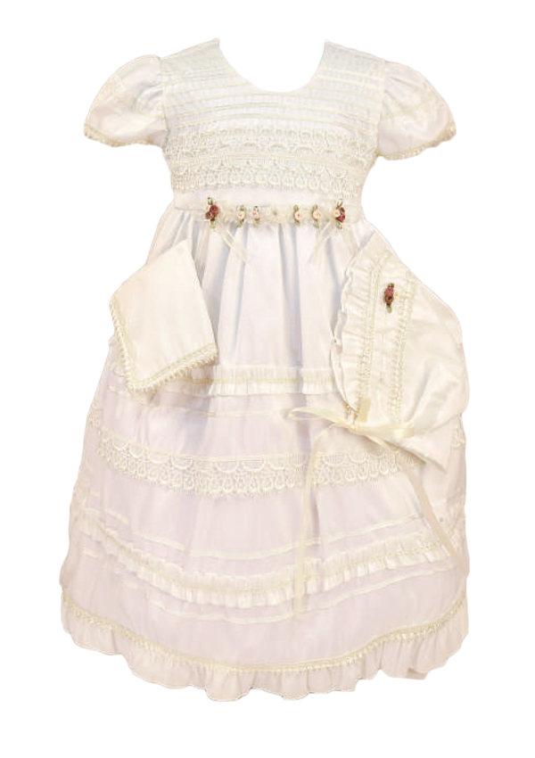 Baby Flower Girls White Satin Tulle Dress Wedding Easter Party Christening 402