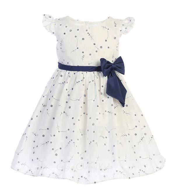 Baby Toddler Girls Blue /& White Cotton Dress