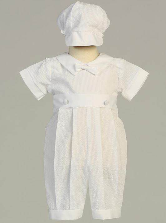 Baby Boys White Cotton Romper Set Removable Gown Christening Baptism Dedication