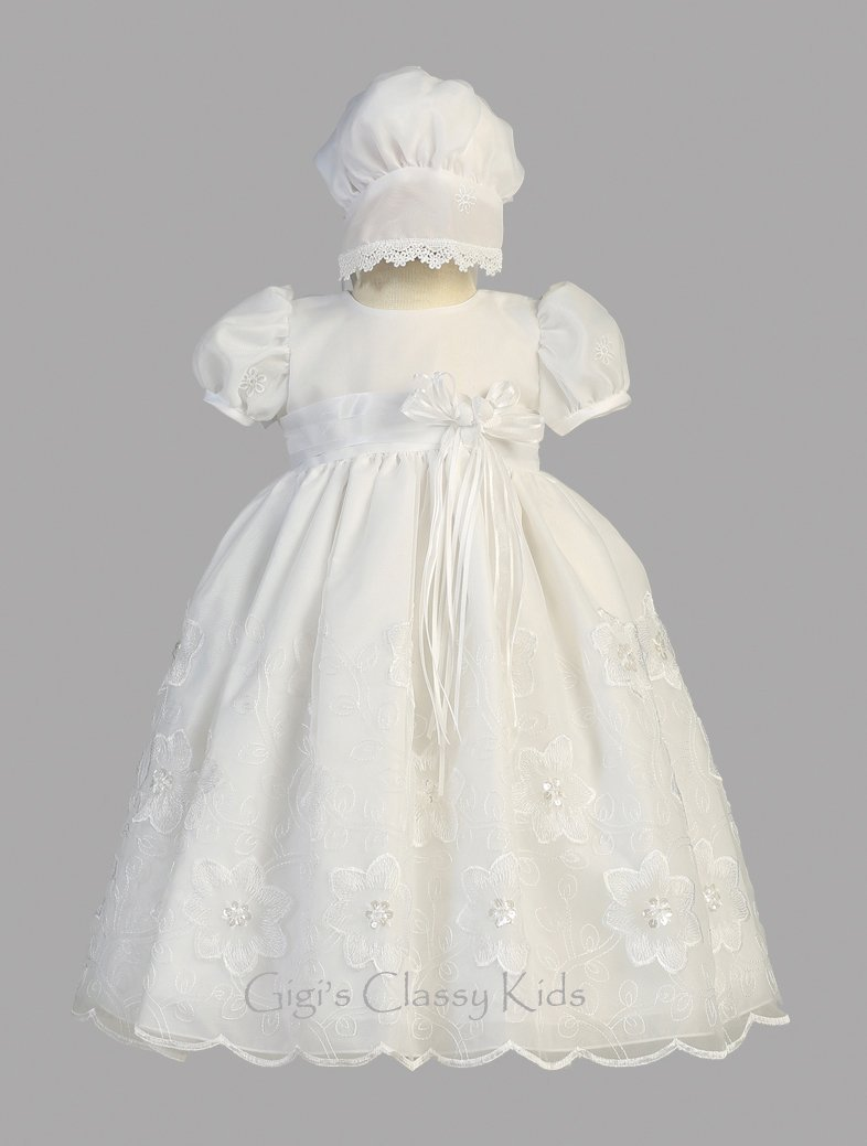 Baby Girls White Organza Christening Baptism Dedication Dress Gown w// Bonnet 21