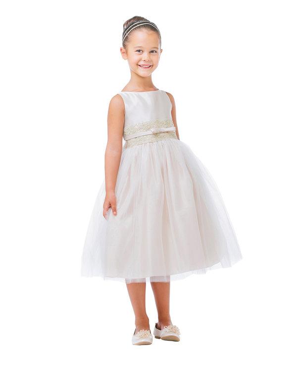 White Satin Metallic Lace Flower Girls Dress Wedding Easter Baby