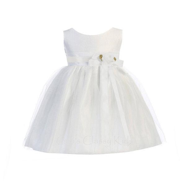 New Baby Girls White Satin Tulle Dress Christening Baptism Wedding
