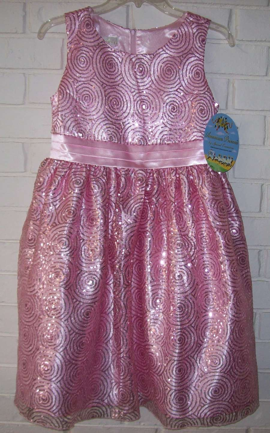 Details about American Princess Ice Pink Girl Plus Size 14.5 Sequin Party  Dress NEW GORGEOUS!!
