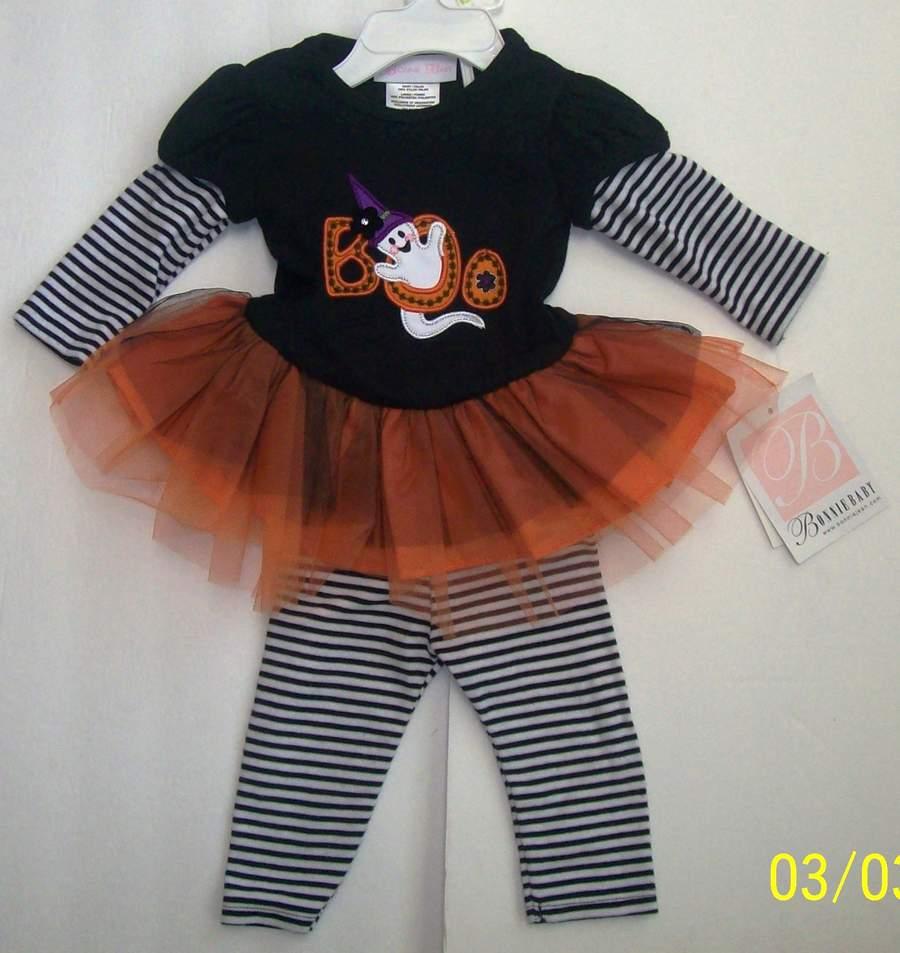 94b746bb3a0 Bonnie Jean Baby Girl Size 3-6 Months Halloween Ghost Tutu Legging Dress Set