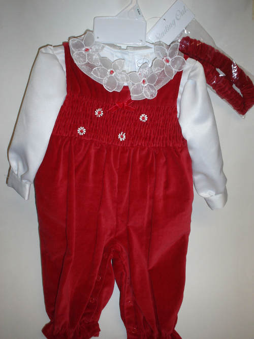 Starting Out Girls 3 Piece Red Christmas Velvet Romper Outfit Size 9