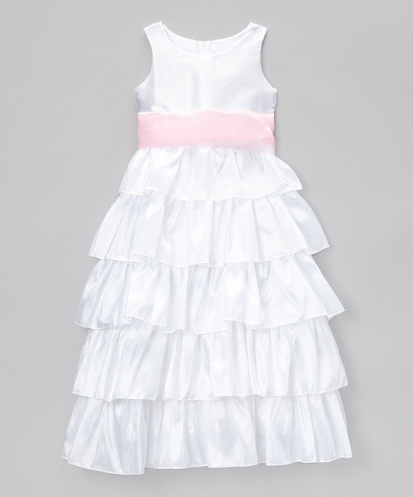 045c5ecef72a Cinderella Couture White   Pink Tiered Bow Dress Girls Size 14 NEW ...