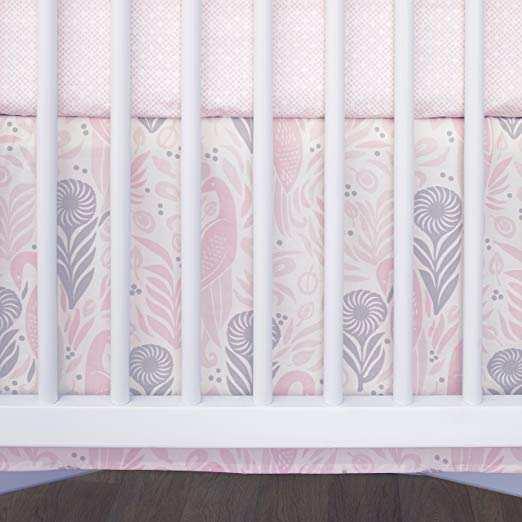 Dwell Studio Boheme Peacock Baby Girl 3 Piece Pink Nursery Crib