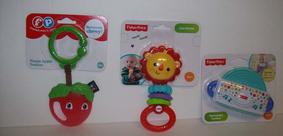 Fisher Price Baby Apple Teether Lion Rattle /& Harmonica Teether NEW