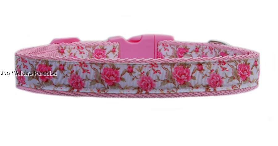 """Pink /"""" Beautiful Pink Rose/""""s /"""" medium large dog collar and  or lead set 1/"""" 25mm"""