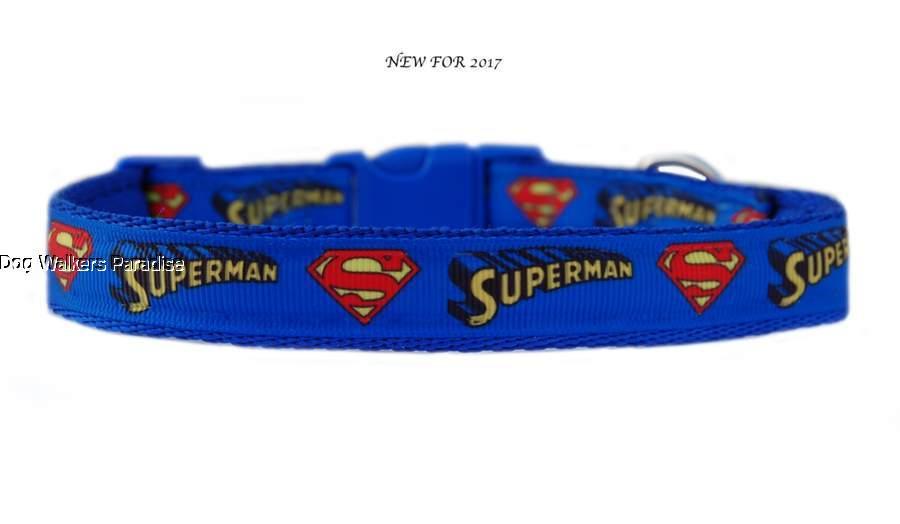 blau superman mittlere rasse hund welpe halsband oder leinenset 19mm ebay. Black Bedroom Furniture Sets. Home Design Ideas