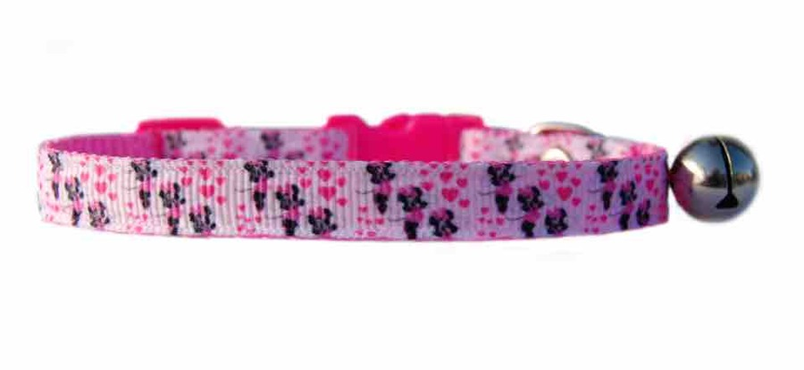Pet kitten cat safety breakaway collar bell fabric pink Disney/'s Minnie Mouse