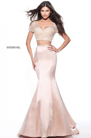 NWT SHERRI HILL 51196 BLUSH PINK LADIES PAGEANT GOWN PROM DRESS SIZE ...