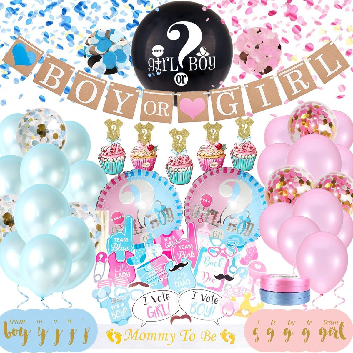 80 pcs Baby Gender Reveal Party Supplies Kit For Baby Boy Or Girl Gender Reveal Decorations Boy or Girl Balloon Gender Reveal Party Decorations Baby Reveal Props Baby Shower Decorations