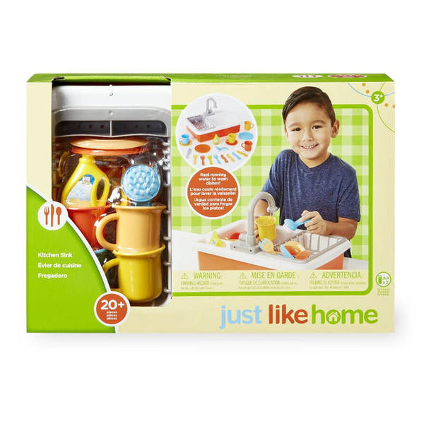 New Just Like Home Kitchen Sink Set Play Dishes Running Water Kids